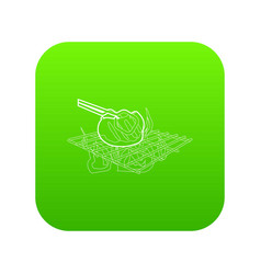 cooking beef on barbecue icon green vector image