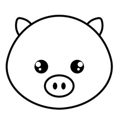cute and tender pig head character vector image