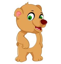 Cute bear cartoon posing vector