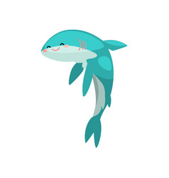 cute funny shark cartoon character vector image