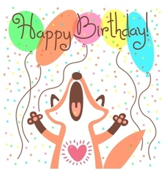 Cute happy birthday card with funny fox vector