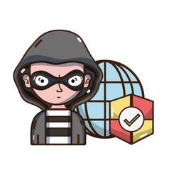 Cybersecurity threat cartoons vector
