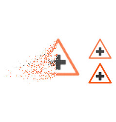 Damaged dotted halftone health warning icon vector