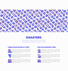 Disasters concept with thin line icons vector