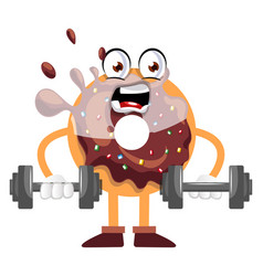 donut lifting weights on white background vector image