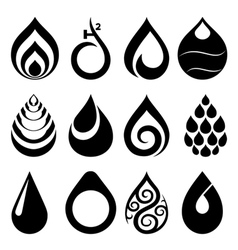 Drop icons and signs set vector