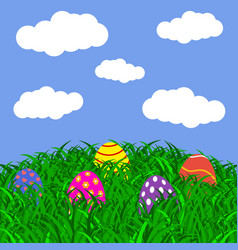 easter eggs on the grass vector image