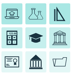 Education icons set with academy building hat vector