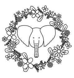 Elephant with floral decoration bohemian style vector