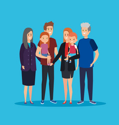 Fathers and mothers with grandparents and kids vector