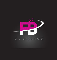 Fb f b creative letters design with white pink vector