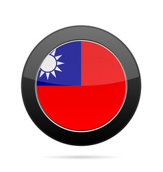 flag of taiwan shiny black round button vector image
