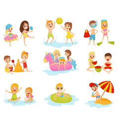 flat set of little children in different vector image