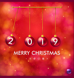 Four 2019 numbered red christmas balls in vector