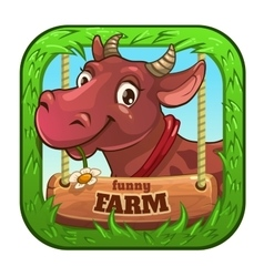 Funny app icon with cute cartoon cow vector