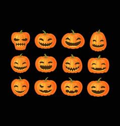 Funny pumpkins set halloween symbol cartoon vector