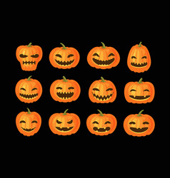 funny pumpkins set halloween symbol cartoon vector image
