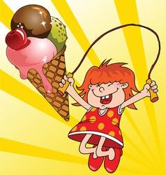 Girl and a ice cream vector
