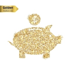 Gold glitter icon of piggy bank isolated on vector