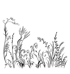 grass and flowers silhouette isolated on white vector image
