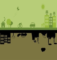 Green versus Industrial city vector