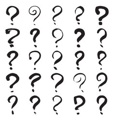 hand painted question marks vector image
