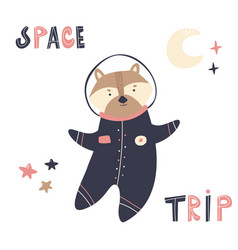 happy astronaut raccoon in a spacesuit and helmet vector image