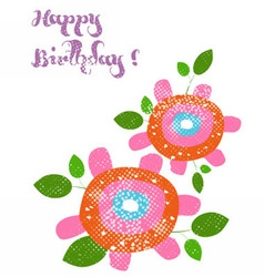 Happy birthday with flower vector image