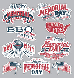 Happy memorial day barbecue party labels set vector