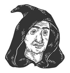 Head a witch in a hood sketch scratch board vector