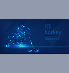 hockey player on ice with stick shot puck vector image