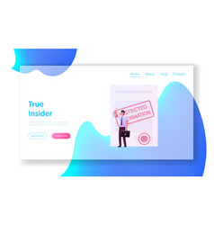 Insider compromising material landing page vector