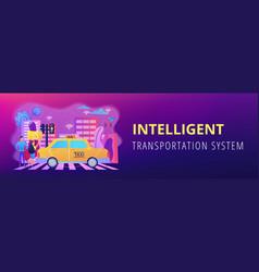 Intelligent transportation system concept banner vector