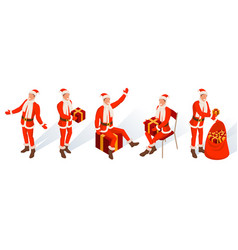 isometric characters of young santa vector image