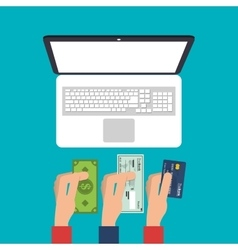 Laptop payment and shopping design vector