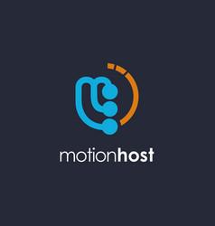 Letter m motion logo template on dark background vector