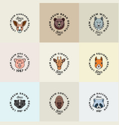 line style animals faces set with retro typography vector image