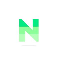 logo letter n green energy battery vector image