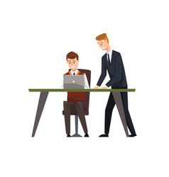 man sitting at desk working on laptop computer vector image