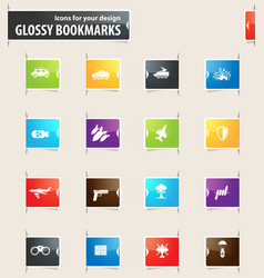 military and war bookmark icons vector image