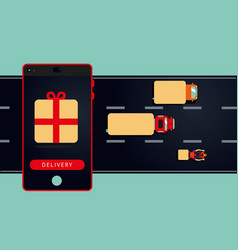 Mobile delivery concept phone andtransportation vector