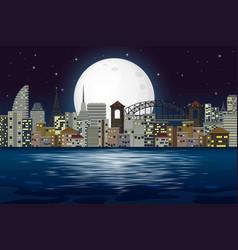 modern city night scene vector image