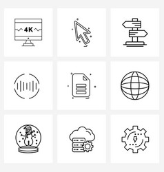 Modern line 9 simple line icons file sound vector