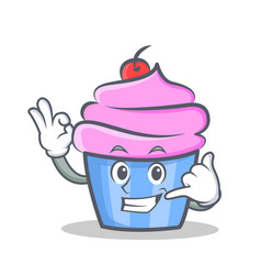 Okay cupcake character cartoon style call me vector