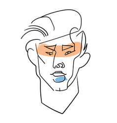 one line man face portrait contemporary drawing vector image