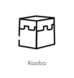 Outline kaaba icon isolated black simple line vector