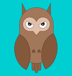 owl in cartoon flat style vector image