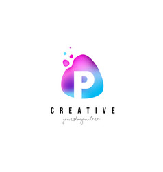 p letter dots logo design with oval shape vector image vector image