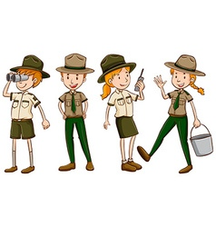 Park rangers in brown uniform vector