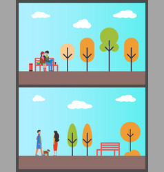 people walking dog couple working in autumn park vector image
